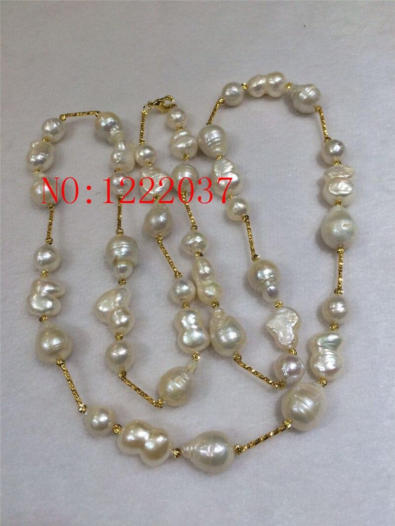 Nouveau 12 16 MM grand collier de perles baroques de forme irrégulière longue chaîne de chandail 40 pouces-in Couples from Bijoux et Accessoires    3