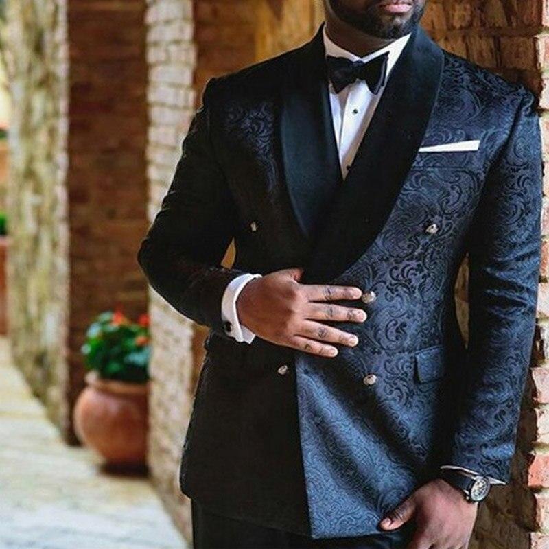Azul marinho ternos dos homens do casamento duplo breasted personalizado magro ajuste noivo smoking 2 peça conjunto jaqueta calças masculino blazer para o baile de formatura