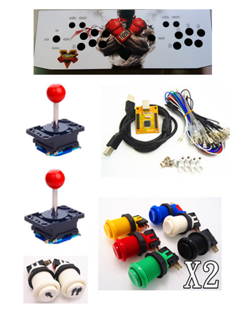 цена на 1 kit for Juyao Arcade to USB controller 2 player MAME Multicade Keyboard Encoder, USB to Jamma, game controller with iron box