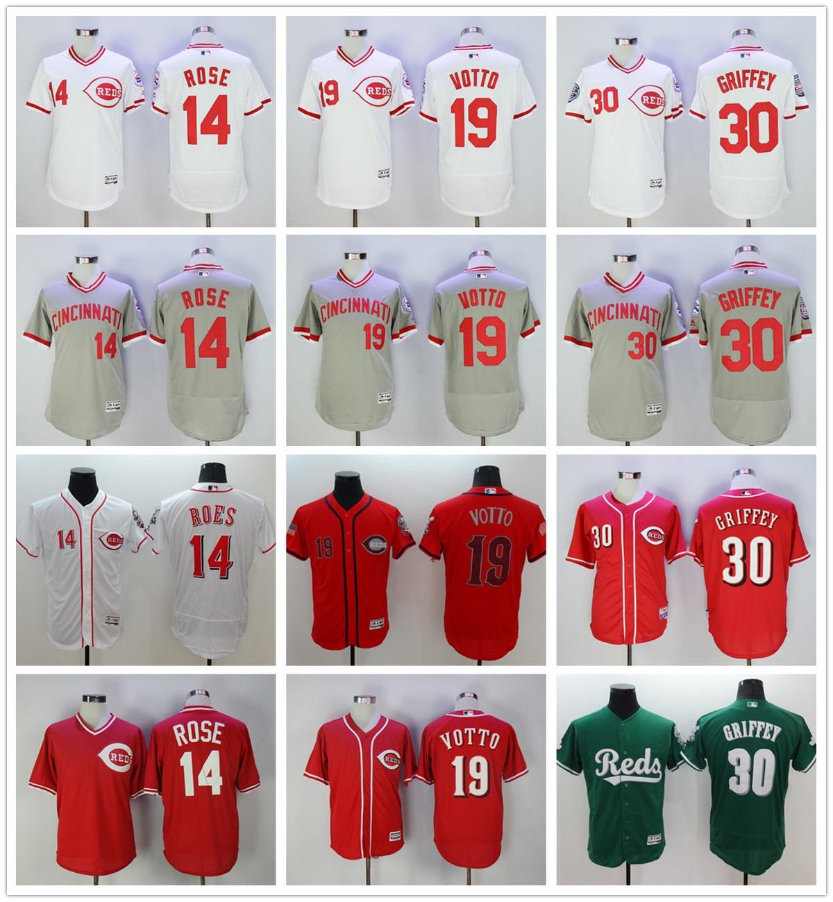 MLB Mens Cincinnati Reds Ken Griffey Jr baseball jersey ...