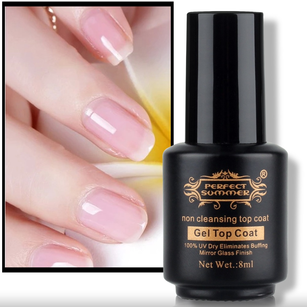 Perfect Summer Top Coat No Wipe Gel Varnish 8ml Clear Color Non ...