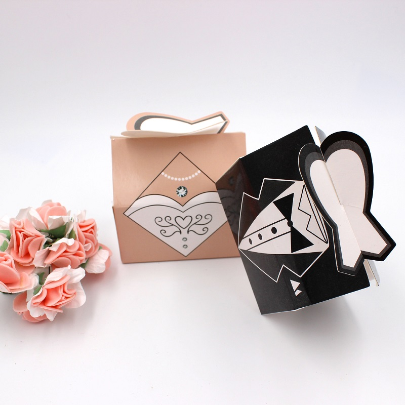 100pcs Paper Candy Box Bride Groom Dresses Packing Sweet Bag Wedding Favors Gift Boxes For Guest Party Decoration (8)