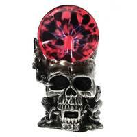 Magic Skull Head Glass Sculpture Statue Lightning Plasma Ball Touch Sensitive Vampire Skull Head Decorative Accent Figurine