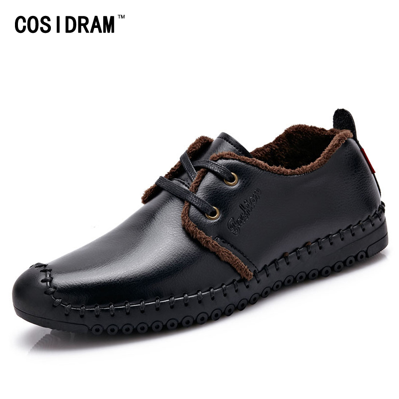 COSIDRAM Warm Plush Winter Shoes With Fur Genuine Leather AAA Men Casual Shoes Fashion Male Footwear For Men 2017 RMC-088