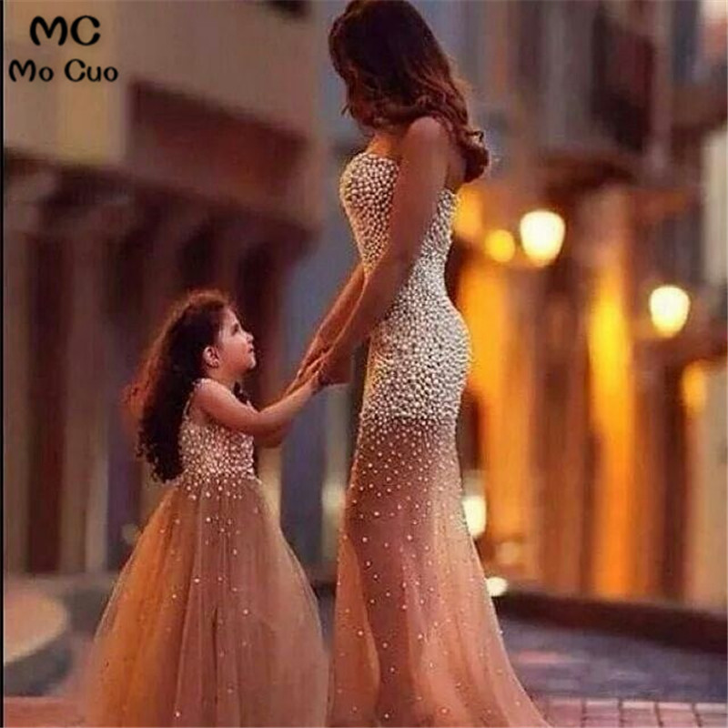 2018   Flower     Girl     Dress   for Wedding Crystal Beads by hand First Communion   Dresses   for   Girls   Mother and Daughter Matchin   Dress