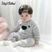 Cute Big Bear Baby Rompers Kids Winter Warm Velvet Jumpsuits Unisex Infant Girls Boys Clothing Body