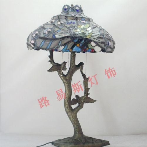 18 Inch Peacock Lamp Tiffany Lamps American RETRO Art Lighting Room Hotel  Decoration Stained Glass LampHigh Grade Handmade In Desk Lamps From Lights  ...