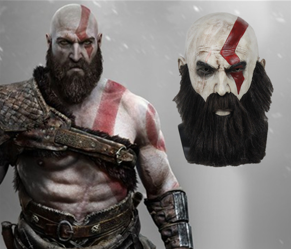 Game God Of War 4 Mask with Beard Cosplay Kratos Horror Latex Masks Helmet Halloween Scary Party Props Cosplay Costume