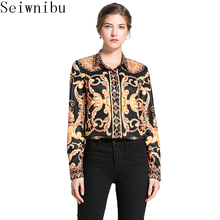 07c4e6ab797d4d Runway Designers Womens Tops and Blouses 2019 Spring Elegant OL Shirts Long  Sleeve Baroque Print Casual