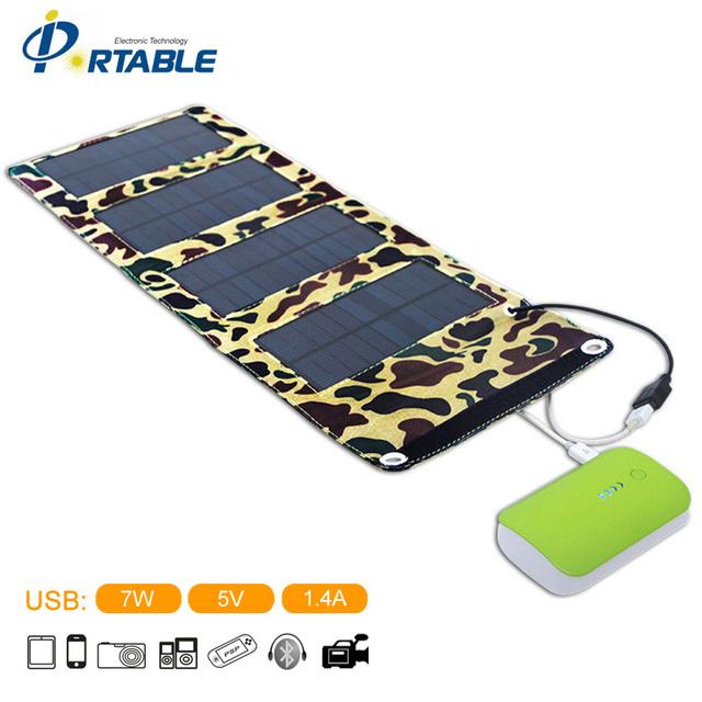 5.5 V 7 W Portátil Folding Painel Solar Battery Charger Saída USB controlador Pack para Celular PSP MP4 e qualquer 5 V USB dispositivos