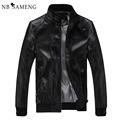 2016 New Fashion Male Leather Jacket Plus Size XXXL 4XL 5XL Black Brown Mens Mandarin Collar PU Coats 13M0691