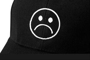 Кепка для мальчиков Sad, Регулируемая Кепка с плачущим лицом, бейсболка, головной убор Хип-хоп, черный Харадзюку, скейтборд, Кепка для гольфа с изогнутыми краями