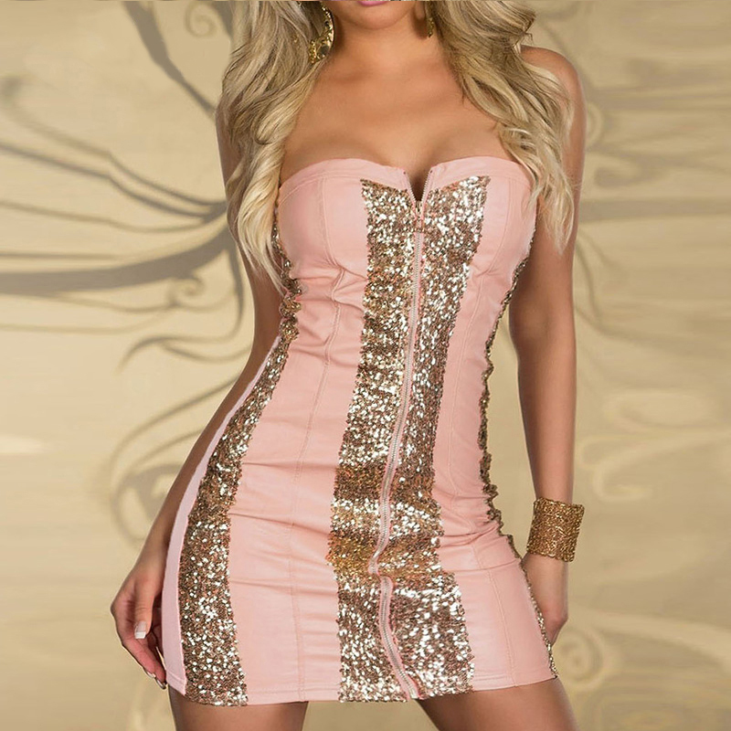 Sexy Strapless Club Bodycon Dress Shining Gold Sequin Zipper Front Clubwear Elegant Off Shoulder Sleeveless Bandage Party Dress