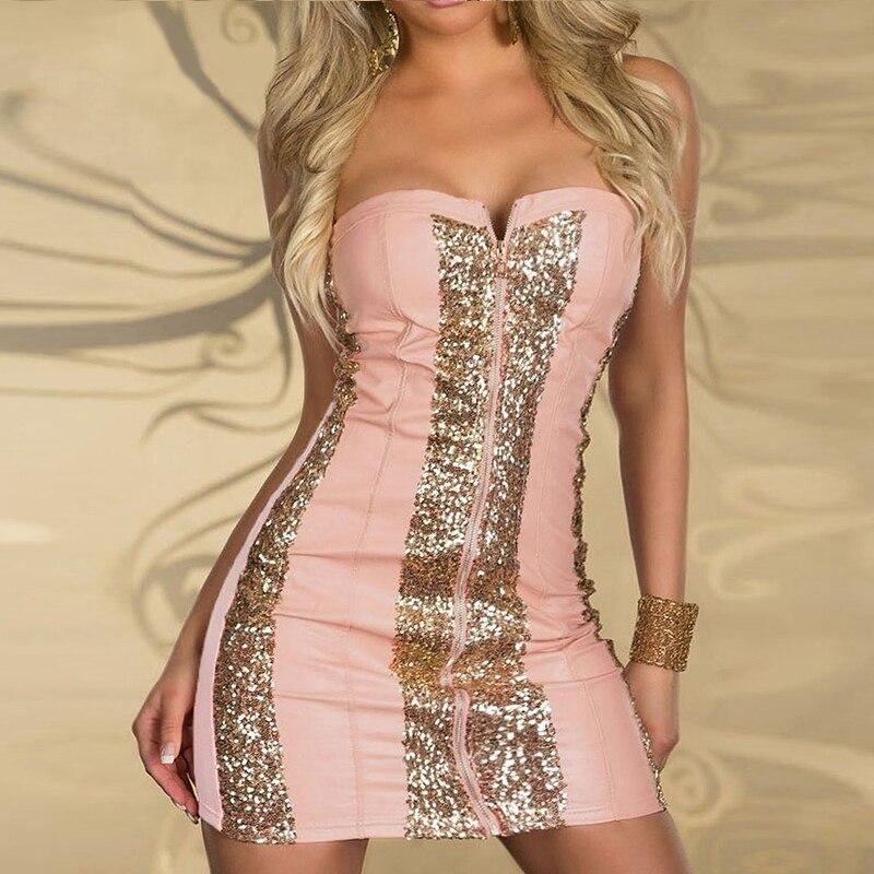 Buy Cheap Wonder beauty Sexy Strapless Club Dress 2015 Shining Gold Sequin Zipper Front Mini Clubwear W3124