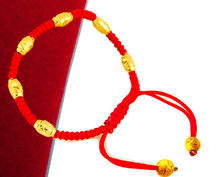 181ZHAO Choose color Six Six Dashun Red Rope Bracelet Imitation Gold Transfer Bead Does Not Displace Adults and Children Peace(China)