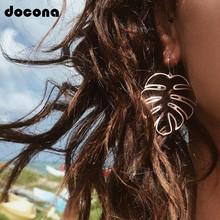 Docona Punk Hollow Leaf Drop Dangle Earring for Women Girl Rose Gold Silver Leaves Pendant Party Jewelry Pendientes 3236