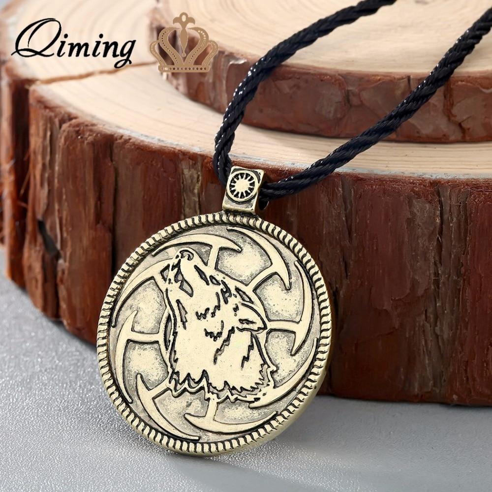 QIMING WOLF Sunwheel Kolovrat Slavic Serbian Symbol tin Pendant Necklace medallion howling wolf Pagan Slavonic jewelry ...