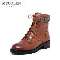 MYCOLEN натуральная кожа 2018 Женские ботинки на шнуровке Высокое качество модная зимняя обувь женские мотоботы зимние сапоги, ботильоны для Для