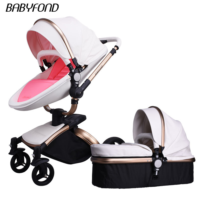 Babyfond  Poussette 2 In 1 Baby Strollers Brand Carriage Pink Colors PU Leather Comfort High Quality Child Carriage NewbornPram