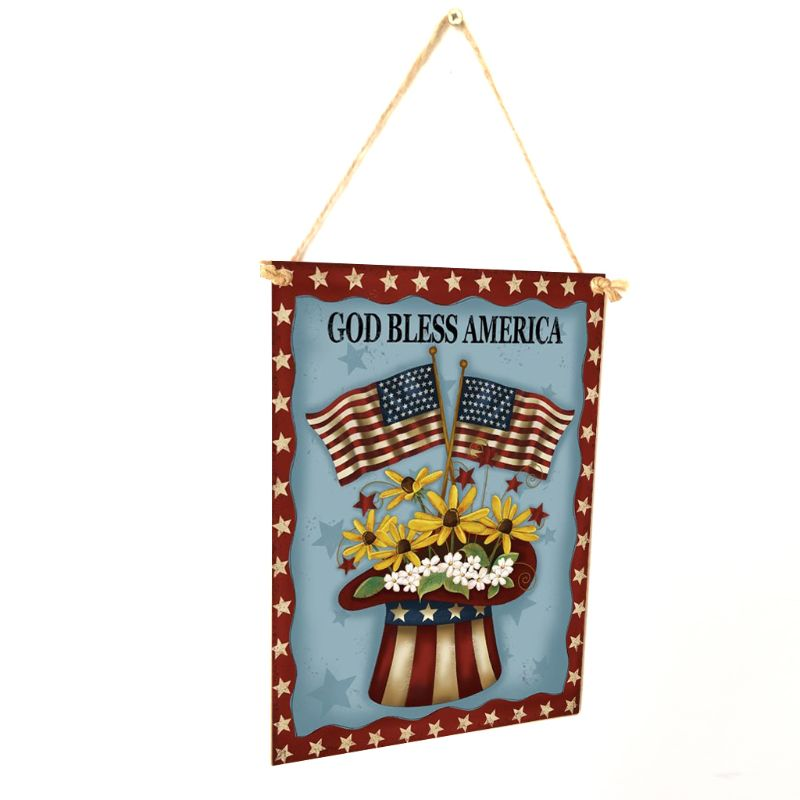 Image 4 - Rustic Wooden Happy God Bless America Flower Sign Plaque Independence Day Room Home Decoration Collection Gift-in Plaques & Signs from Home & Garden