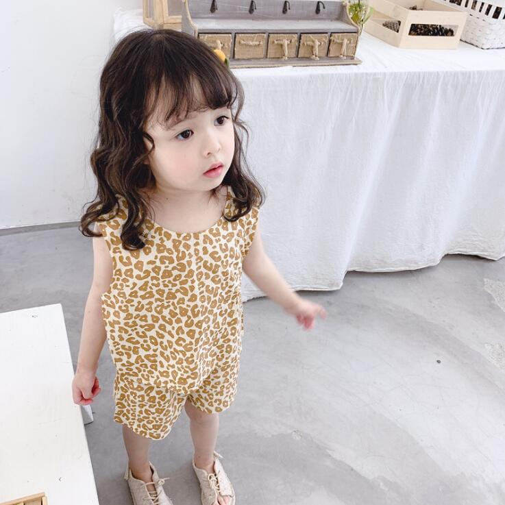 2019 new girls 2 pcs printed set vest+shorts  fashion summer girls suit 1-6t HQ90