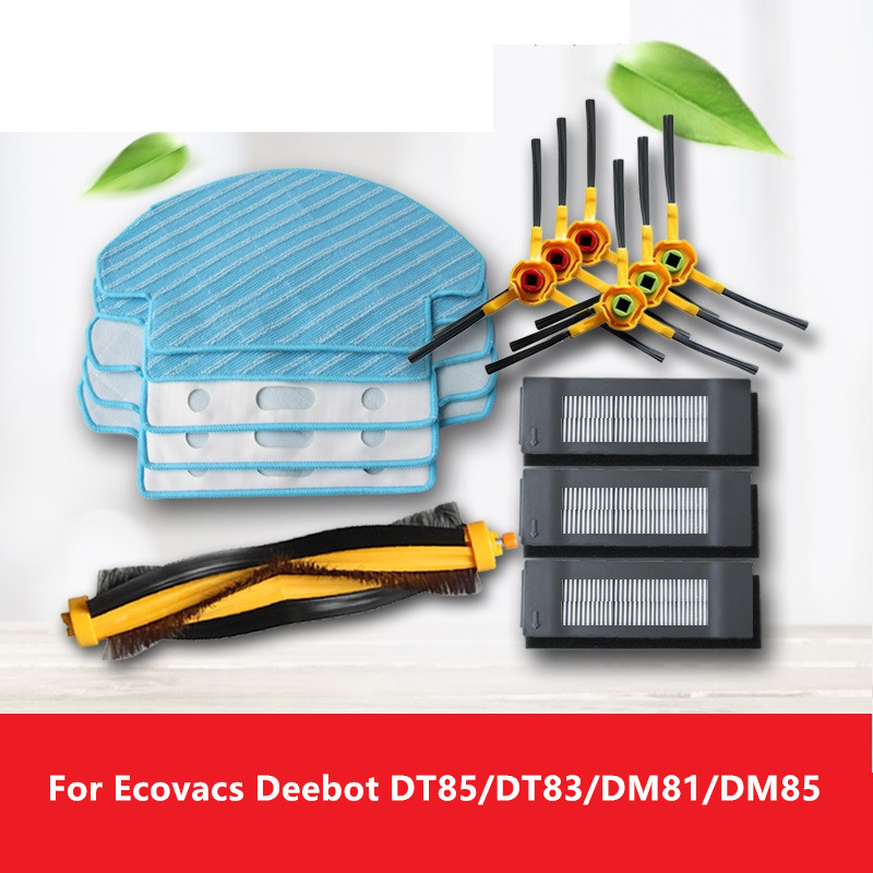Vacuum Cleaner replacement kit for Ecovacs Deebot DT85/DT83/DM81/DM85 Main brush x1+Mop cloth x5 +filter x3 +side brush x6 3 pairs hepa filter 1pc turbo brush main agitator brush 3 pairs side brush for deebot dt85 dt83 dm81 vacuum cleaner for house