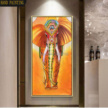 hand painted yellow thailand elephant oil painting on canvas indian wall art large vertical Southeast Asia animal decor
