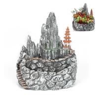 WINOMO Double Layer Creative Artificial Mountain Succulent Flowerpot Small Garden Flower Planter Design Pots (Black)