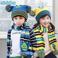 קשת פסי בנות כפה שווי צעיף סט ילדים תבנית סריגה סתיו צעיפי כובעי תרמית בני חליפות ילדים החורף חם