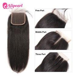 Ali Pearl-Cierre de pelo humano liso brasileño, cierre de encaje, 4X4 libre, medio, tres partes, pelo Remy de bebé, 8-20 pulgadas