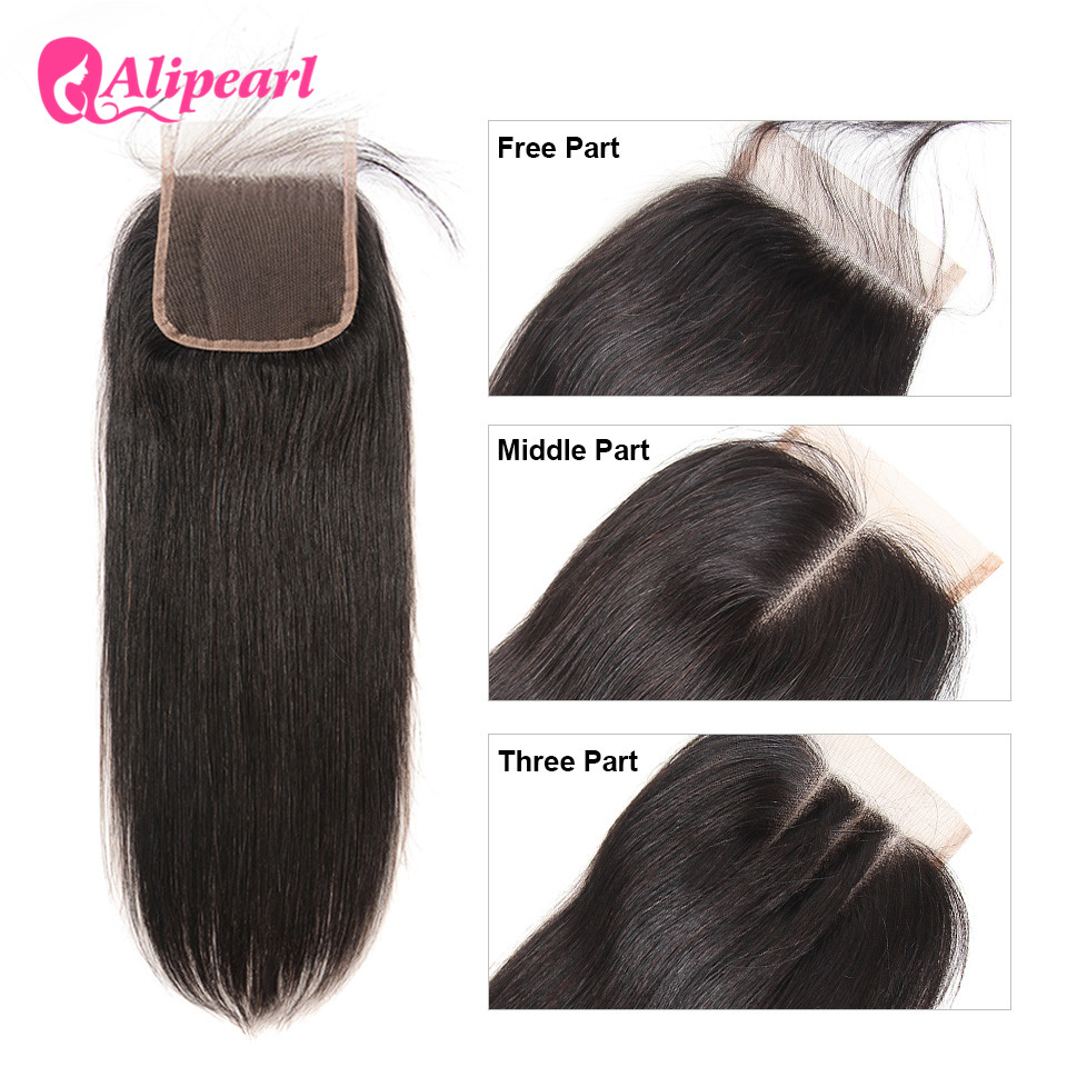 Ali Pearl Hair Closure Brazilian Straight Human Hair Lace Closure 4X4 Free Middle Three Part With Baby Hair Remy Hair 8-20 Inch