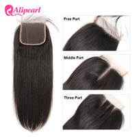 Ali Pearl Hair Closure Brazilian Straight Human Hair Lace Closure 4X4 Free Middle Three Part With Baby Hair Remy Hair 8 20 Inch