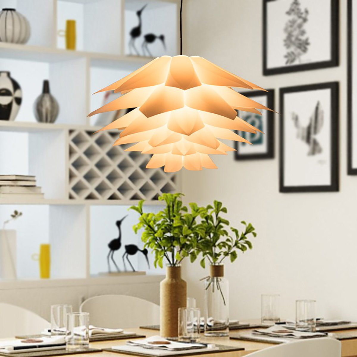 7 Colors DIY Lotus Chandelier Shape Ceiling Light Lampshade Home Decor 6 Layers Wire Drawing Hanging Long Serving Life