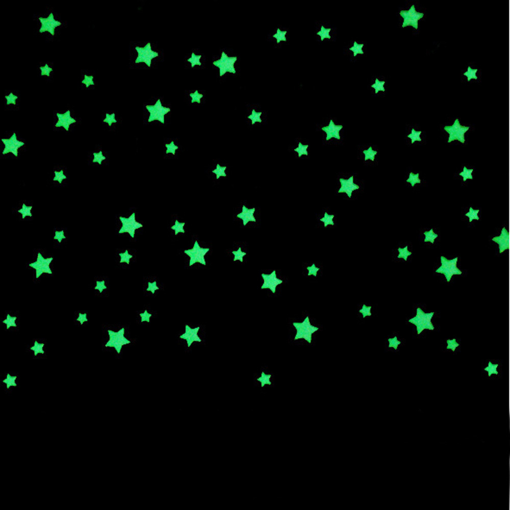 Fashion Heaven New 100PC Kids Bedroom Beautiful Fluorescent Glow In The Dark Stars Wall Stickers Wallpaper Free Shipping