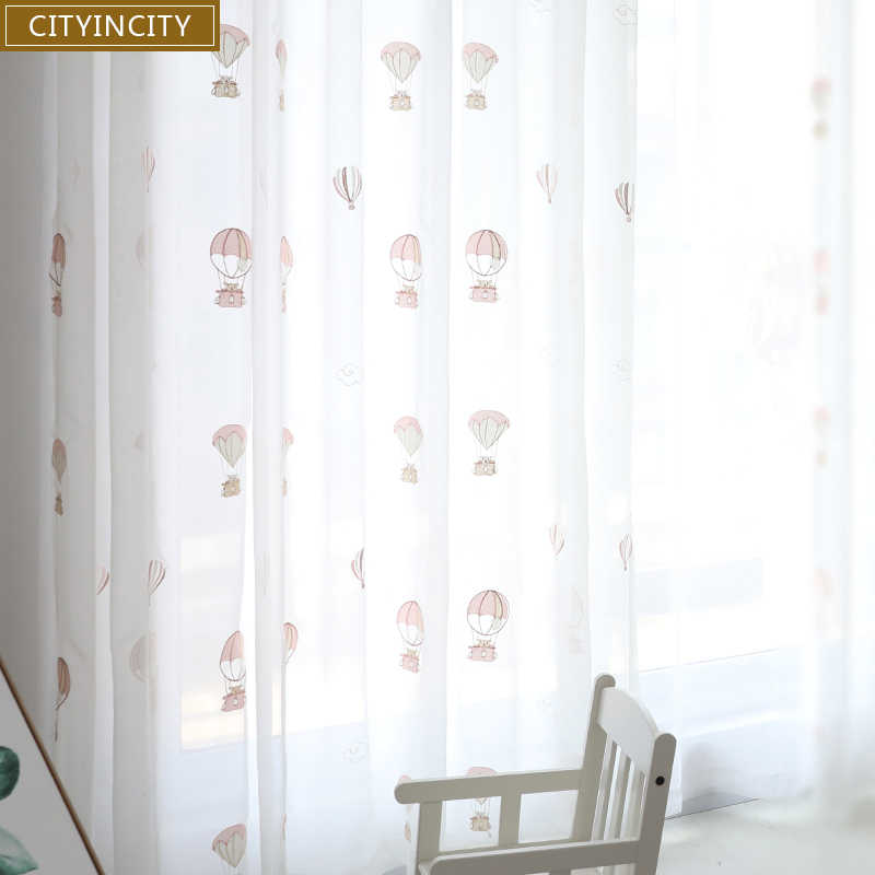 CITYINCITY Tulle Embroidered Kids Curtains for bedroom Dream Bear White Girl Boy 3D curtain for living room Sheer ready made