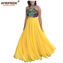 2019 african print dresses for women ankara fabric+Chiffon dashiki clothing sleeveless dress AFRIPRIDE A1925031