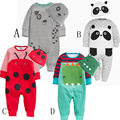 Cotton Baby Clothes Set Rompers + Caps Newborn Infant Girls Clothing Baby Costume Baby Boys Clothes 2016 Autumn New animal