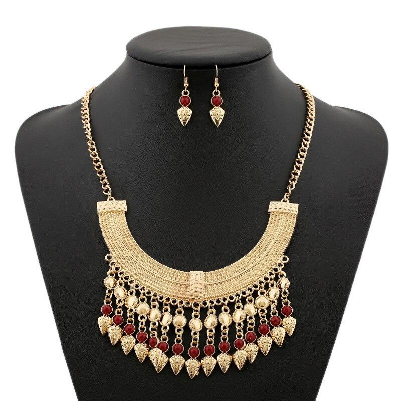 17db500fc الأزياء bohenmia نمط الذهب اللون الشرابة سلسلة الخرز قلادة بيان قلادة  للنساء الخرز والمجوهرات مجموعة الأفريقية