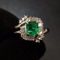 Fine Jewelry Real Pure Pt900 Gold Colombia Origin Emerald 0.895ct Gemstone Diamonds Jewellery Female's Rings for women Fine Ring