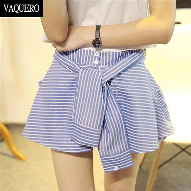 Высокая талия шорты для женщин выглядеть футболки юбки эластичный пояс полосатый леггинсы-брюки летние шорты юбки Pantalones Cortos Mujers
