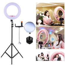 "FD-480II 17.7"" Macro LED Video Light/Lightstand/Adapter/Make-up Mirror/Cellphone Holder for Cam Camcorder Photography Studio(China)"