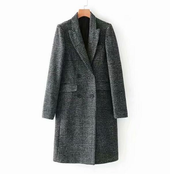 Invierno Vintage Long Hiver Automne Poule Droite Abrigos Manteau Color Picture Veste Tweed Mujer Plaid Femmes 2018 OF4gwqn