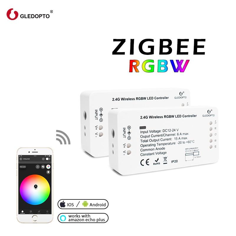 Contrôleur intelligent de la lumière rvb/rgbw de bande de lien de zigbee Zll DC12V/24 V zigbee rvb contrôle d'app compatible avec l'écho g LED LED opto LED rvb