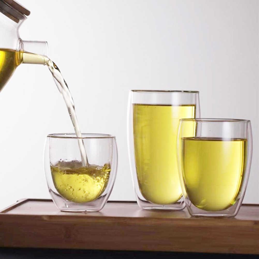 80/250/350/450 ミリリットル耐熱二層ガラスミルク水カップガラスカップマグ、スプーンウイスキーガラス vasos デ vidr
