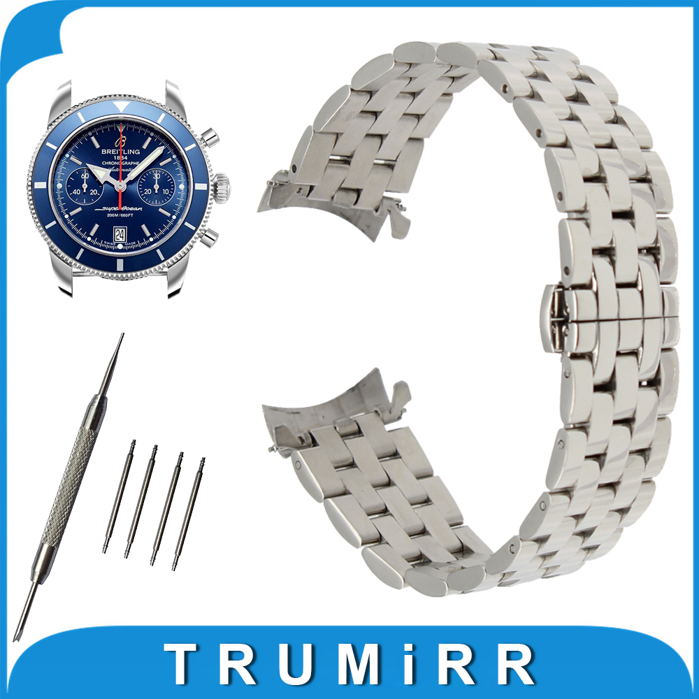 18mm 20mm 22mm 24mm Stainless Steel Watch Band Curved End Strap for Breitling Watchband Butterfly Buckle