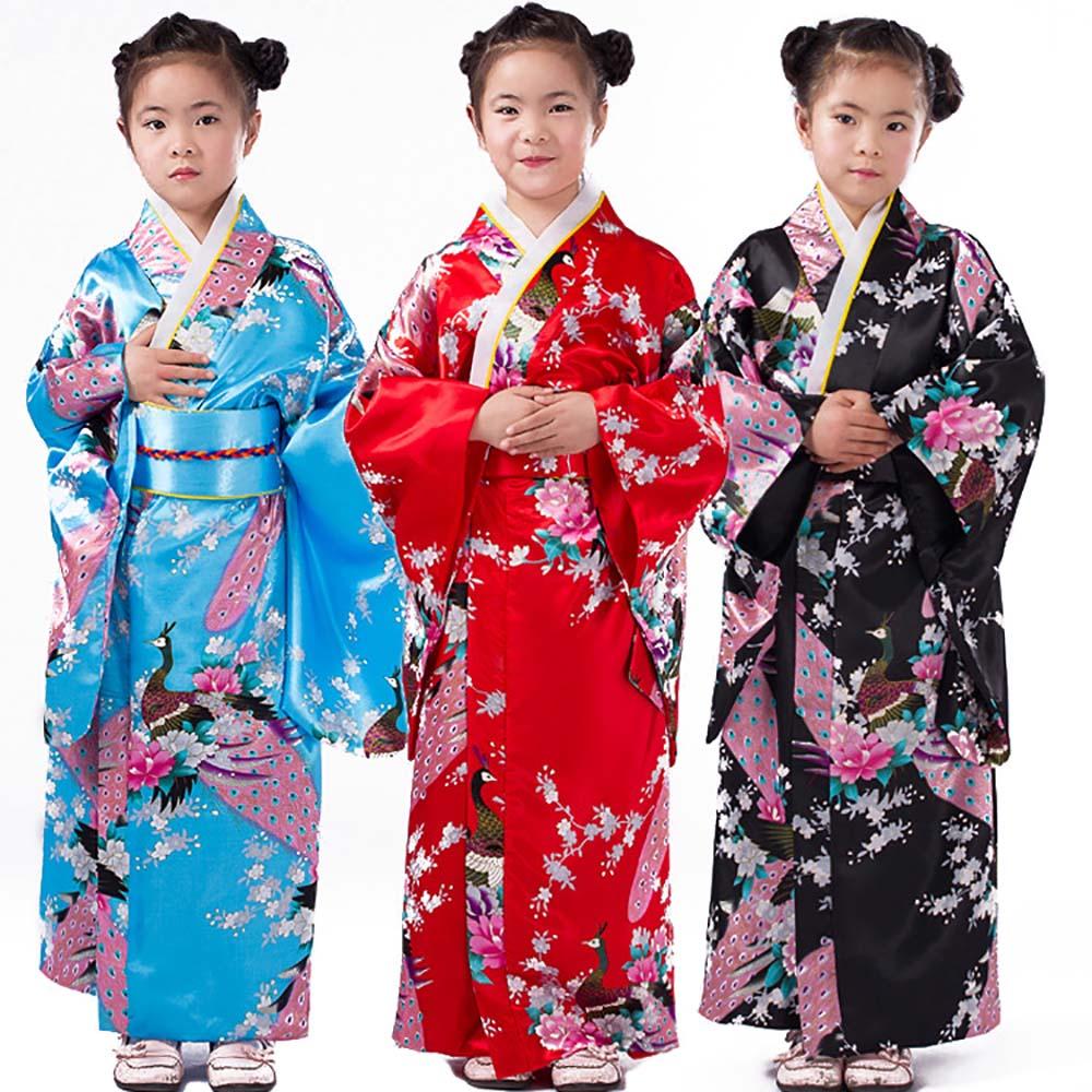 Kids Girl Vintage Floral Kimono Yukata Japanese Traditional Costume Silk Satin Kimono Robe Dress for Children Geisha Cosplay