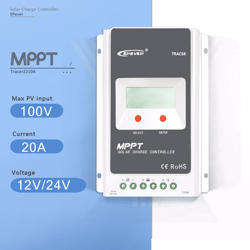 Tracer 2210A 20A  MPPT Solar Charge Controller 12V/24V Auto Solar Panel Battery  Charge System Regulator With Big LCD Display mppt 10a solar charge controller epever10a mppt solar controller 150v pv battery panel regulator 12v 24vdc aotu solar charger
