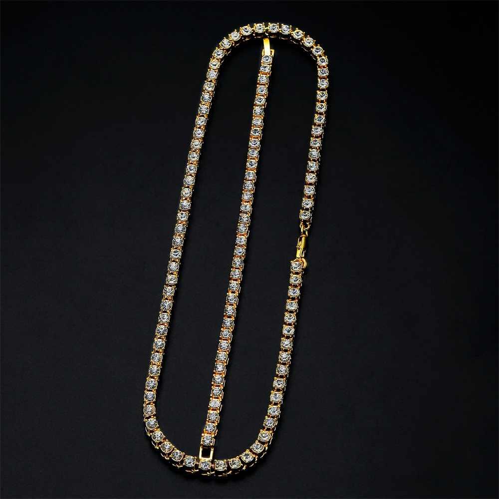 Hiphop Choker Bling Iced Out dżetów łańcuszkowy naszyjnik dla mężczyzn 5mm szerokość srebrny złoty 1 rząd łańcuchy tenisowe naszyjniki zestaw bransoletek