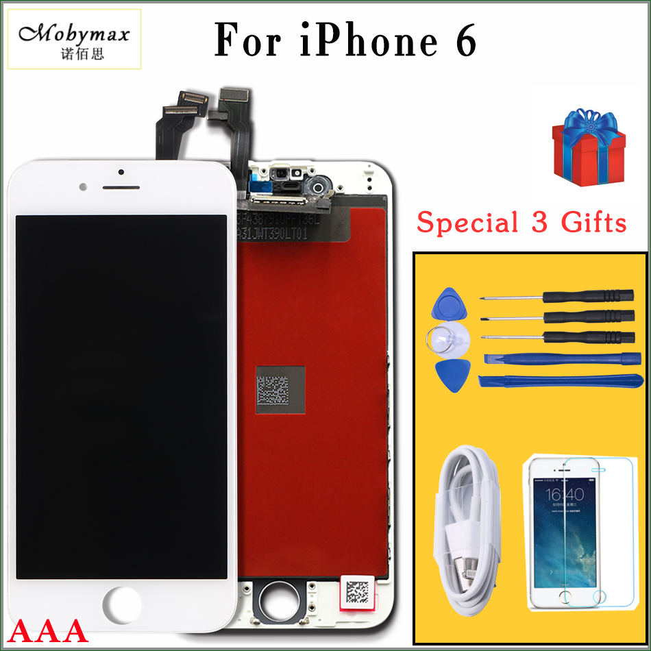 Mobymax LCD for iPhone 6 6plus LCD Display & Touch Glass Screen Replacement in Black/White All Test one by one work well+Gifts