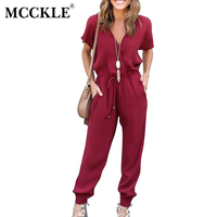 MCCKLE Fashion 2017 Summer Woman Bodysuit V Neck Cross Lacing Solid Chiffon Sexy Romper Short Sleeve